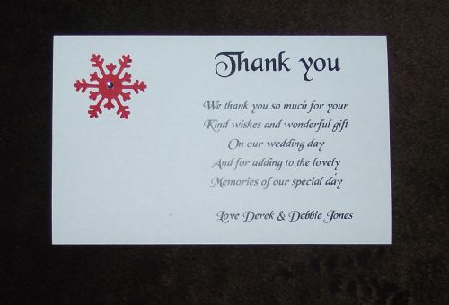 Thank You Cards Personalised Snowflake  various colours Winter Christmas  x 10